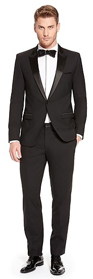 HUGO BOSS Avans/Hames Slim Fit, Stretch Virgin Wool Tuxedo - Black