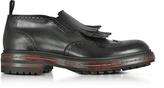 Santoni Black Fringed Leather Ankle Boots