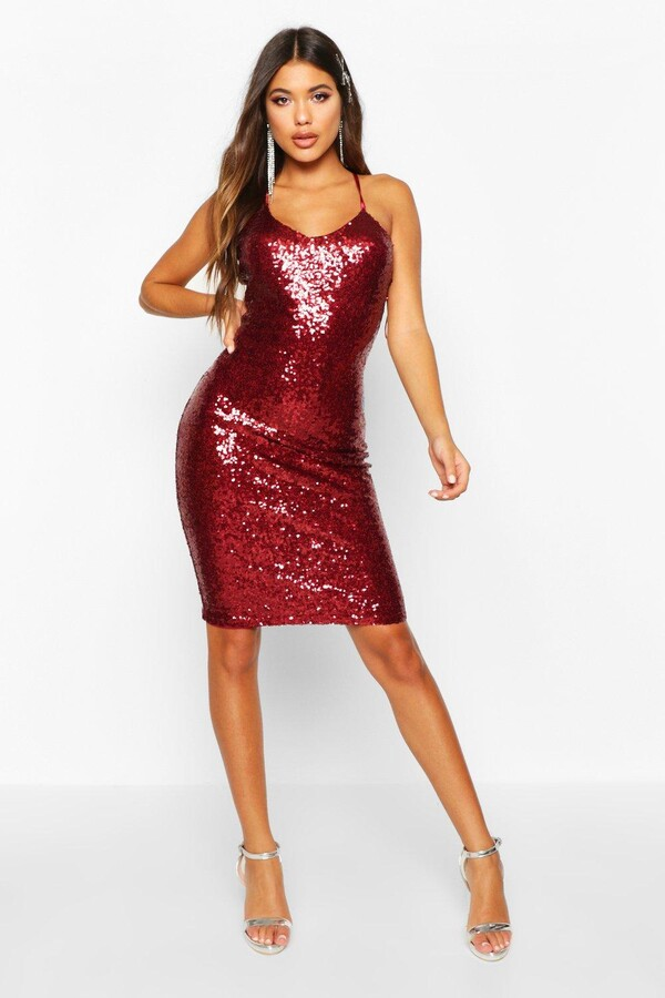 22642a8f boohoo Red Sequin Dresses - ShopStyle