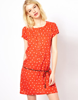 Sessun Polka Dot Dress with Puff Sleeves and Tie Belt