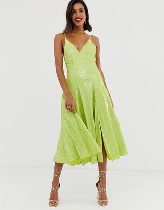 Asos Edition EDITION cami split front sequin midi dress-Green