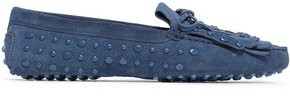 Tod's Fringed Studded Suede Loafers