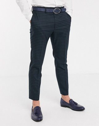 Asos DESIGN skinny suit pants in mini blackwatch plaid check in navy and green