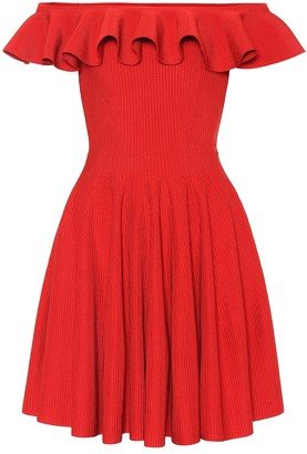 Alexander McQueen Ribbed off-the-shoulder dress
