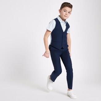 River Island Boys Navy suit waistcoat