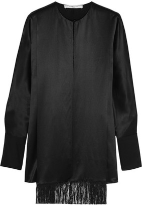 Givenchy Fringed Top In Black Silk-satin