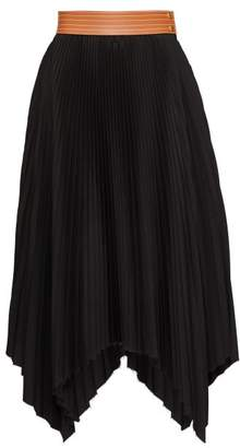 Loewe Leather-waist Pleated Poplin Midi Skirt - Womens - Black Tan