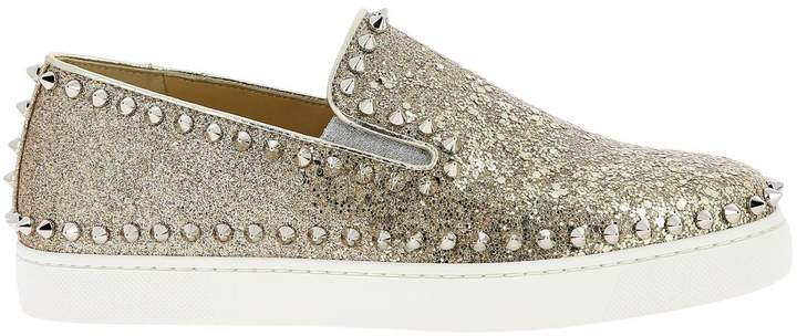 save off 3d7dc 2412e Sneakers Pik Boat Slip On Sneakers In Glitter Leather With Studs