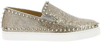 Christian Louboutin Sneakers Pik Boat Slip On Sneakers In Glitter Leather With Studs