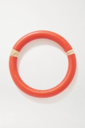 Bottega Veneta Leather And Gold-tone Necklace - Orange