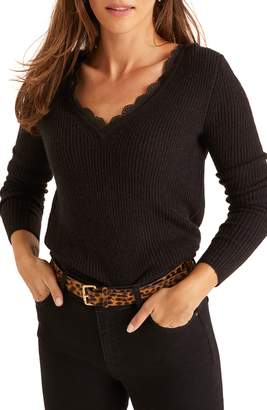 Boden Kelsey Lace Trimmed V-Neck Sweater