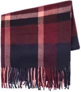 Topman Burgundy Check Blanket Scarf