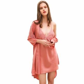 Chongmu Womens 2pcs Pyjamas Set Sexy V-Neck Nightdress Backless Silk Pajamas Satin Robe Gown Sets Sleepwear Rose Red
