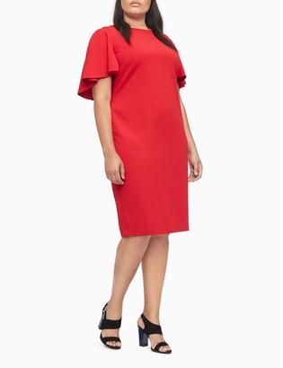 Calvin Klein Plus Size Flutter Short Sleeve Sheath Dress