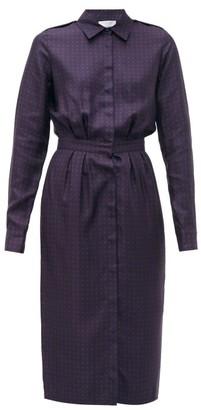 Gabriela Hearst Military Polka-dot Silk-twill Midi Dress - Womens - Navy Multi