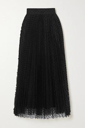 Zimmermann Charm Pleated Polka-dot Flocked Tulle Midi Skirt - Black