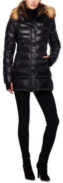 S13 Chelsea High-Shine Faux-Fur-Trim Hooded Down Puffer Coat