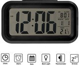 SkyNature Mini LCD Digital Alarm Clock Large Display with Time Day Temperature Nightlight and Snooze(Black)
