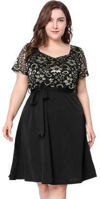 Unique Bargains Women's Plus Size A-Line Belted Short Sleeve Lace Midi Dress