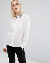 Fashion Union Long Sleeve Shirt With Embroidered Collar