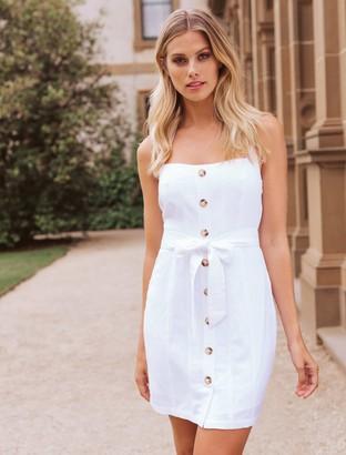 Forever New Piper Linen Halterneck Mini Dress - White - 16