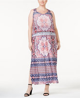 NY Collection Plus Size Layered Printed Maxi Dress