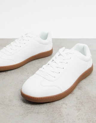 ASOS DESIGN lace up sneakers in white faux suede with gum sole