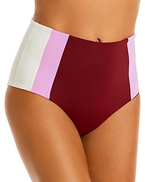L-Space Portia Colorblocked High-Waist Bikini Bottom