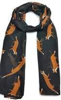 World of Shawls Ladies Women's Colorful Long Fox Wolf Animal Print Scarf Wraps Shawl Soft Scarves Sale