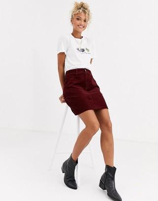 New Look pocket detail cord mini skirt in burgundy-Red