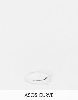 ASOS DESIGN Curve sterling silver ring in open heart design