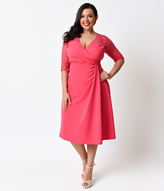 Kiyonna Plus Size Pink Passion Half Sleeve Lavish Lace Wrap Dress