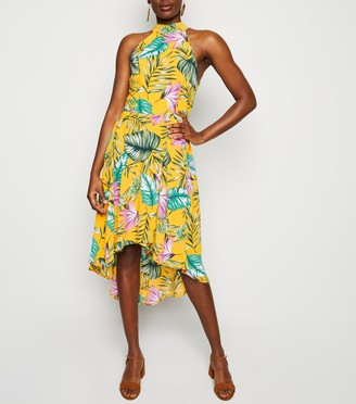 New Look Mela Tropical Dip Hem Dress