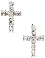 Carole Crystal & Stainless Steel Thin Cross Stud Earrings