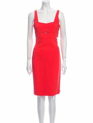 Narciso Rodriguez Square Neckline Knee-Length Dress Orange