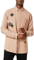 Topman Men's Badge Twill Shirt