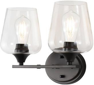 Jonathan Y Designs Jayne 15.75In 2-Light Iron/Seeded Glass Cottage Rustic Led Vanity Light