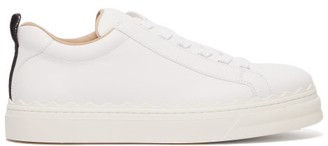 Chloé Lauren Scallop-edge Leather Trainers - White