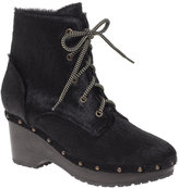 Pony Lace Up Clogg Ankle Boots