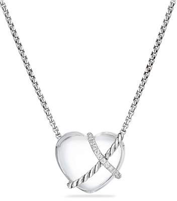 David Yurman Le Petit Coeur Sculpted Heart Chain Necklace with Crystal and Diamonds