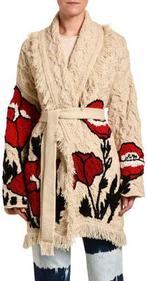 Alanui Cashmere Wrap Cardigan with Poppy Embroidery
