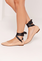 Missguided Nude Eyelet Tie Detail Flats