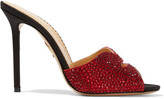 Charlotte Olympia + Agent Provocateur Kiss My Feet Crystal-embellished Satin Mules - Claret