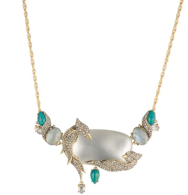 Alexis Bittar Crystal Encrusted Lovebirds Statement Necklace