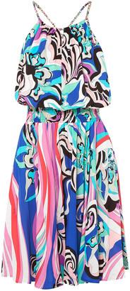 Emilio Pucci Open-back Shirred Printed Voile Mini Dress