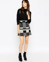 Asos Mini Skirt in Wool Mix Check with Buckle Detail