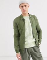 Asos Design DESIGN jersey muscle harrington jacket in khaki