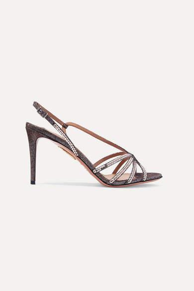 Aquazzura Paradis Sequined Lame Slingback Sandals - Silver