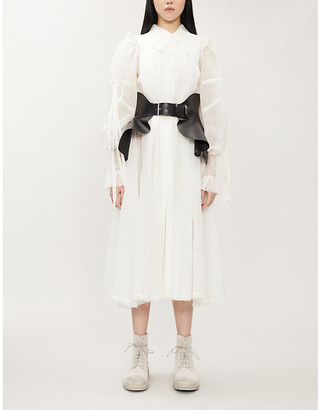 Renli Su Asymmetric ruffled-trim silk-blend midi dress