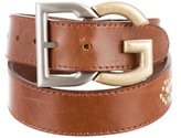 Dolce & Gabbana Snakeskin-Trimmed Leather Belt